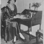 Eleanor Roosevelt at a writing desk