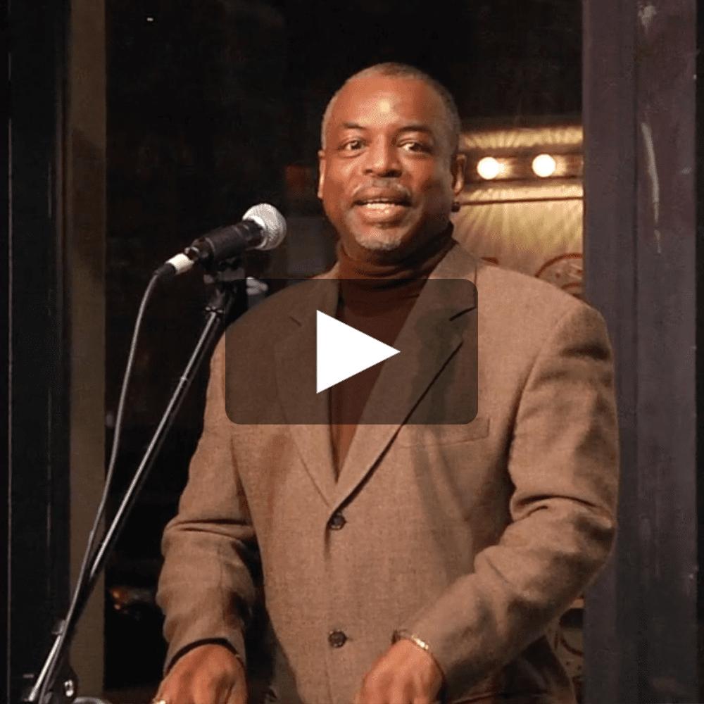 LeVar Burton delivers a speech at 5 Under 35