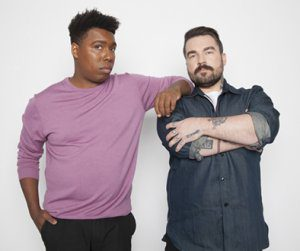 Saeed Jones (left) and Isaac Fitzgerald (right), Cohosts of BuzzFeed News AM to DM. (Photo credit: Drew Reynolds)