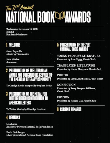 Details about the schedule of events at the 2020 National Book Awards Ceremony